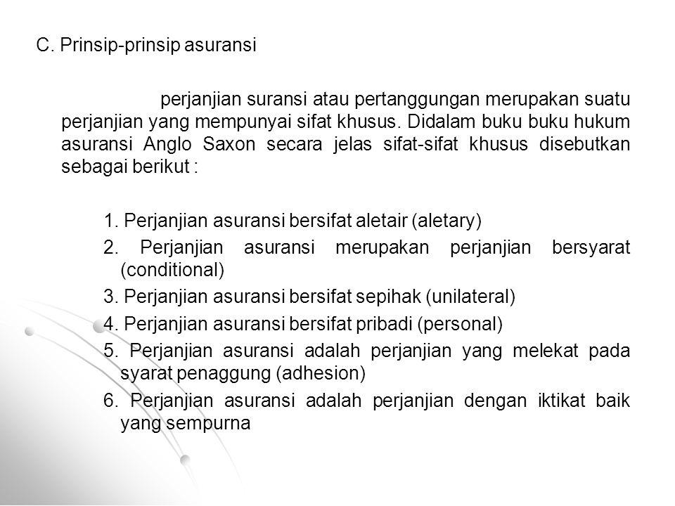 C. Prinsip-prinsip asuransi