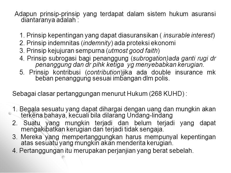 1. Prinsip kepentingan yang dapat diasuransikan ( insurable interest)