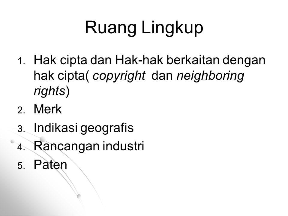 Ruang Lingkup Hak cipta dan Hak-hak berkaitan dengan hak cipta( copyright dan neighboring rights) Merk.