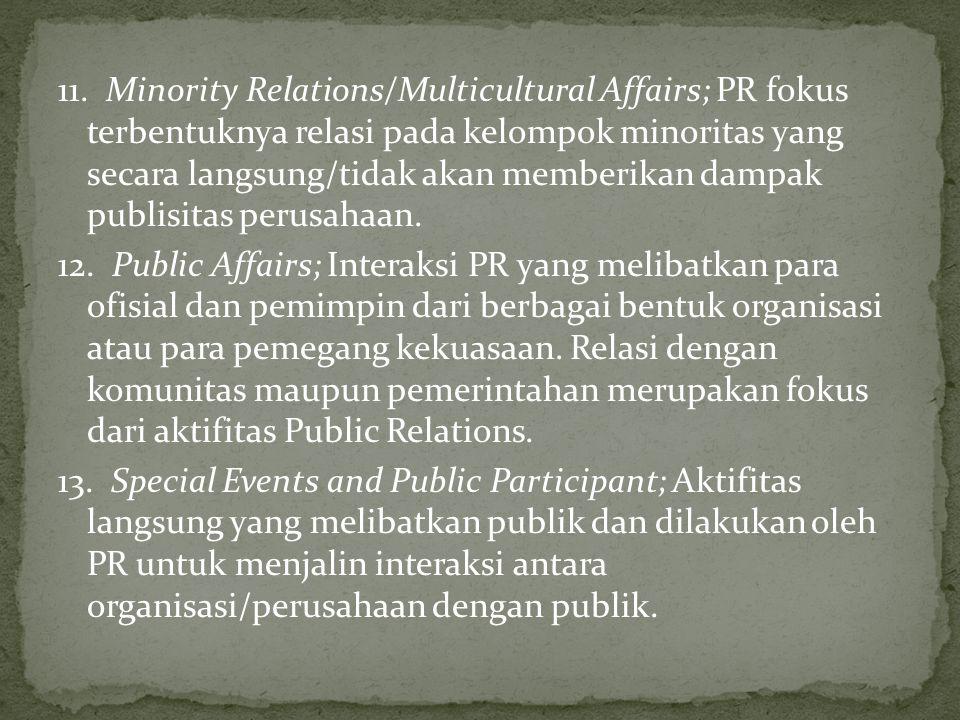 11. Minority Relations/Multicultural Affairs; PR fokus terbentuknya relasi pada kelompok minoritas yang secara langsung/tidak akan memberikan dampak publisitas perusahaan.