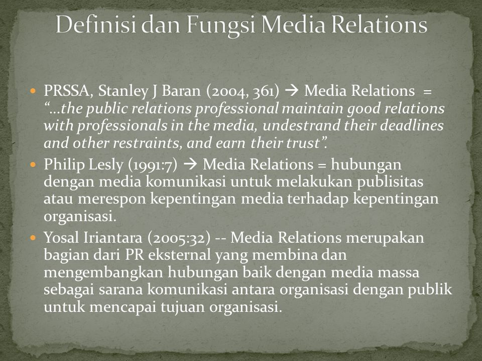 Definisi dan Fungsi Media Relations