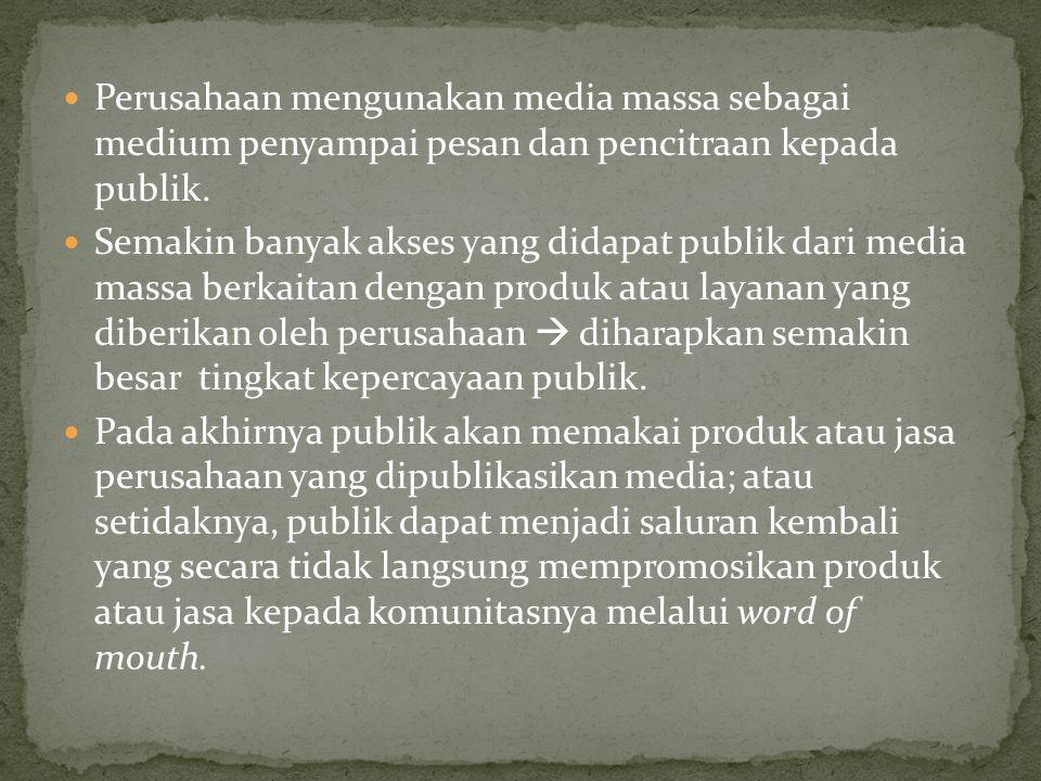 Perusahaan mengunakan media massa sebagai medium penyampai pesan dan pencitraan kepada publik.