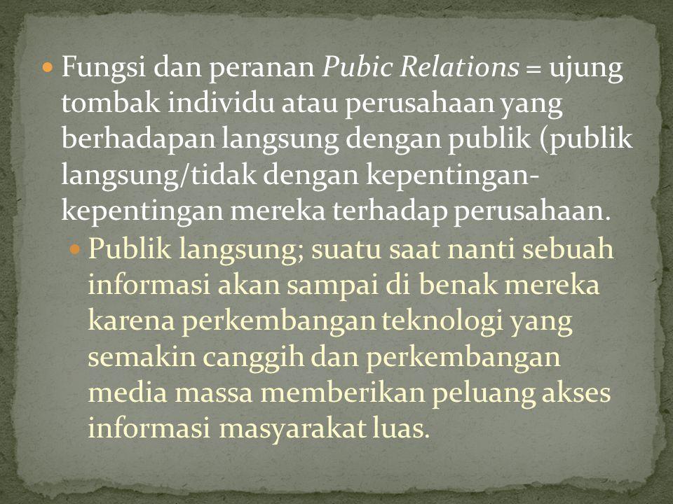 Fungsi dan peranan Pubic Relations = ujung tombak individu atau perusahaan yang berhadapan langsung dengan publik (publik langsung/tidak dengan kepentingan- kepentingan mereka terhadap perusahaan.