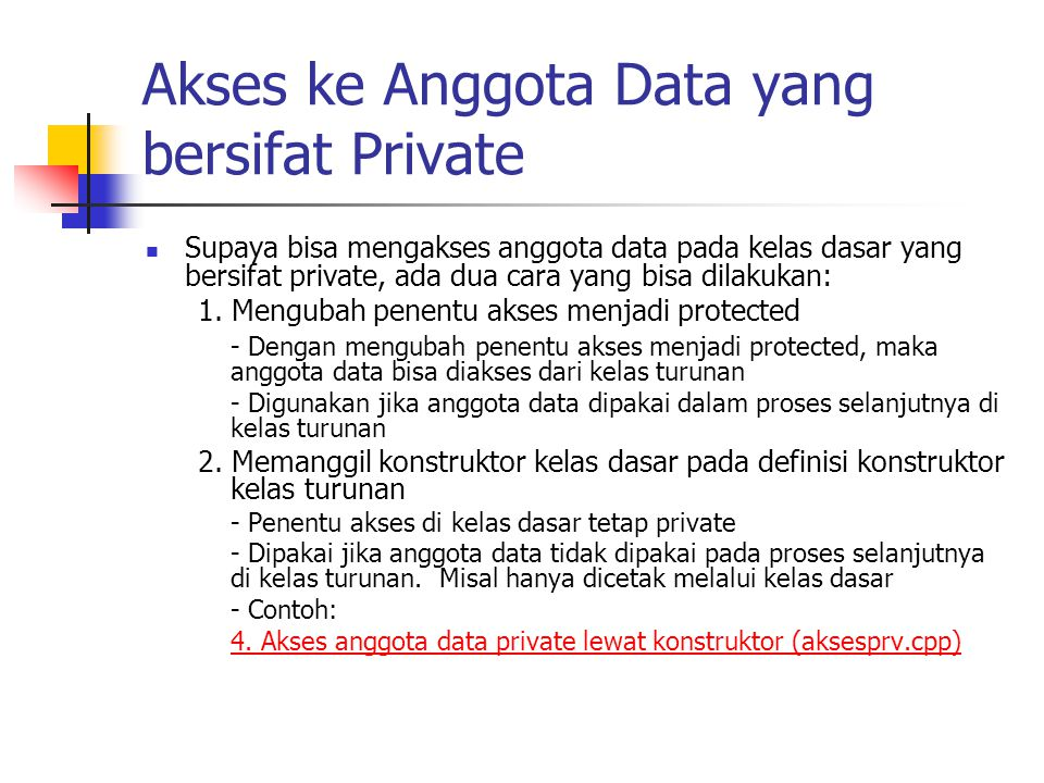 Akses ke Anggota Data yang bersifat Private