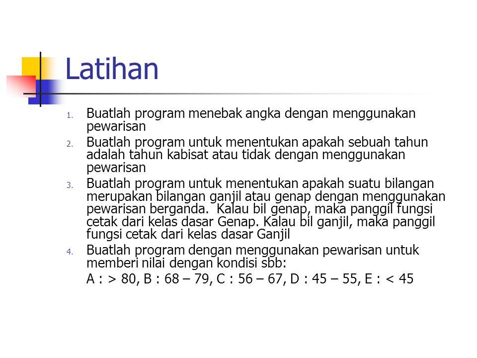 Latihan Buatlah program menebak angka dengan menggunakan pewarisan