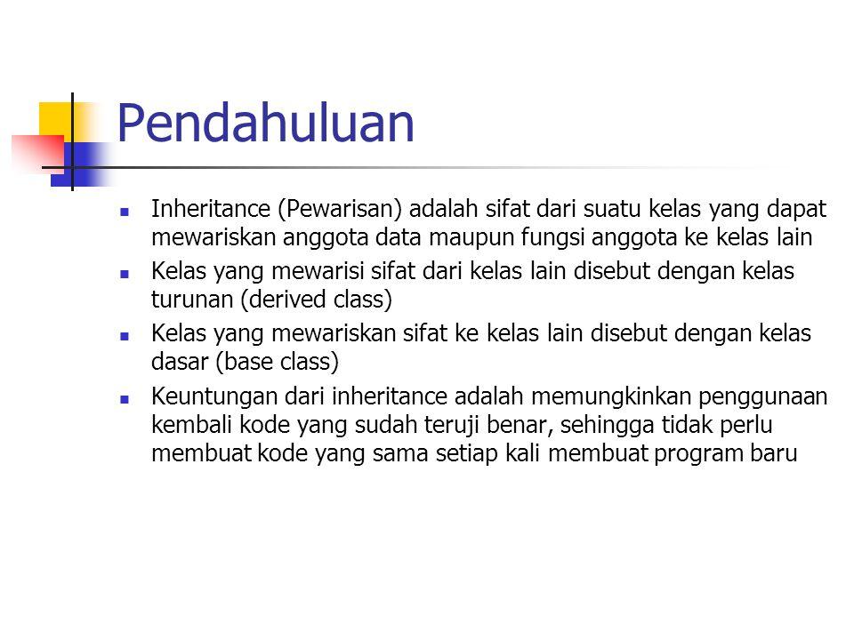 Pendahuluan Inheritance (Pewarisan) adalah sifat dari suatu kelas yang dapat mewariskan anggota data maupun fungsi anggota ke kelas lain.