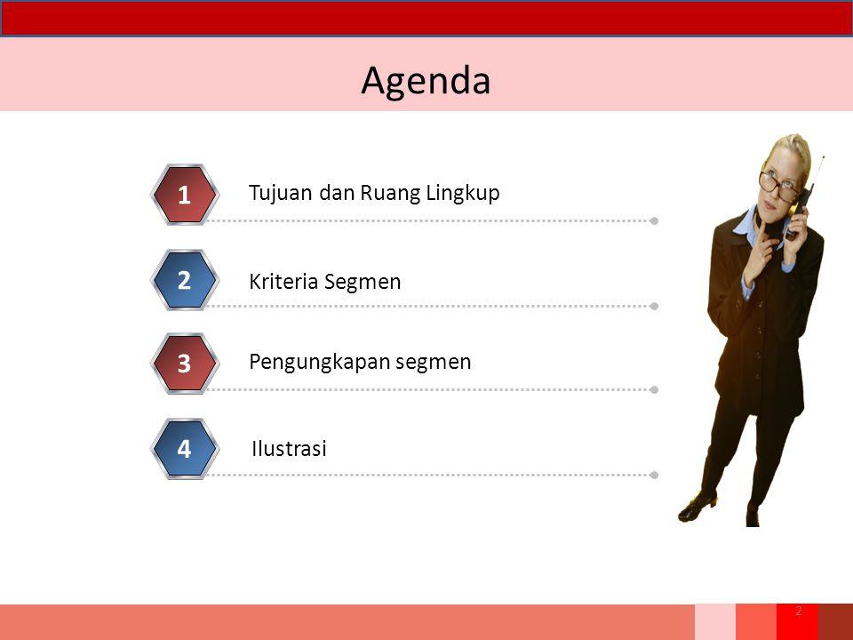 Agenda 1 2 3 4 Tujuan dan Ruang Lingkup Kriteria Segmen