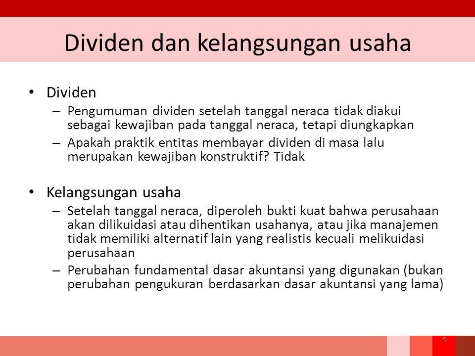 Dividen dan kelangsungan usaha