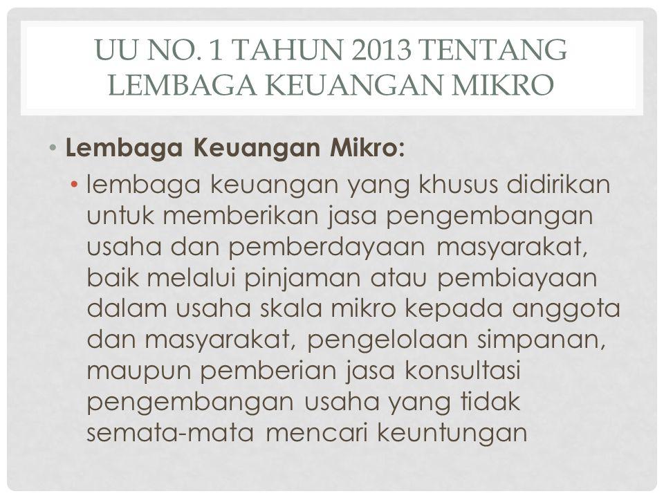 UU No. 1 Tahun 2013 tentang Lembaga Keuangan mikro