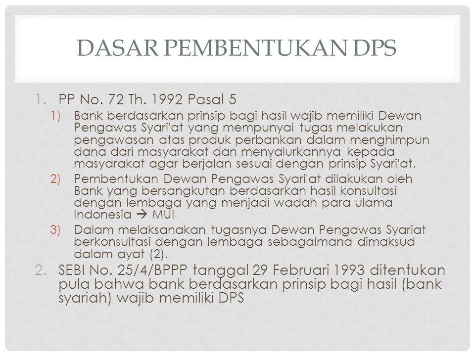 DASAR PEMBENTUKAN DPS PP No. 72 Th. 1992 Pasal 5