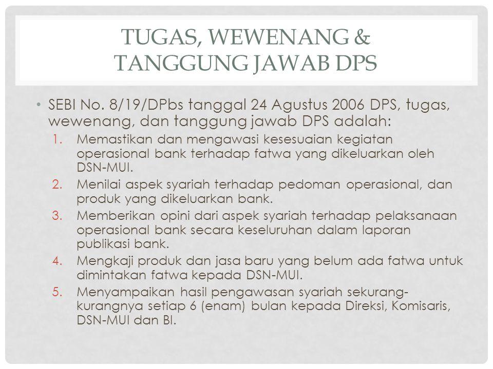 TUGAS, WEWENANG & TANGGUNG JAWAB DPS