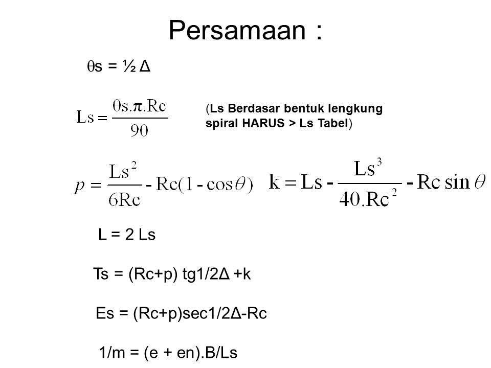 Persamaan : L = 2 Ls Ts = (Rc+p) tg1/2Δ +k Es = (Rc+p)sec1/2Δ-Rc