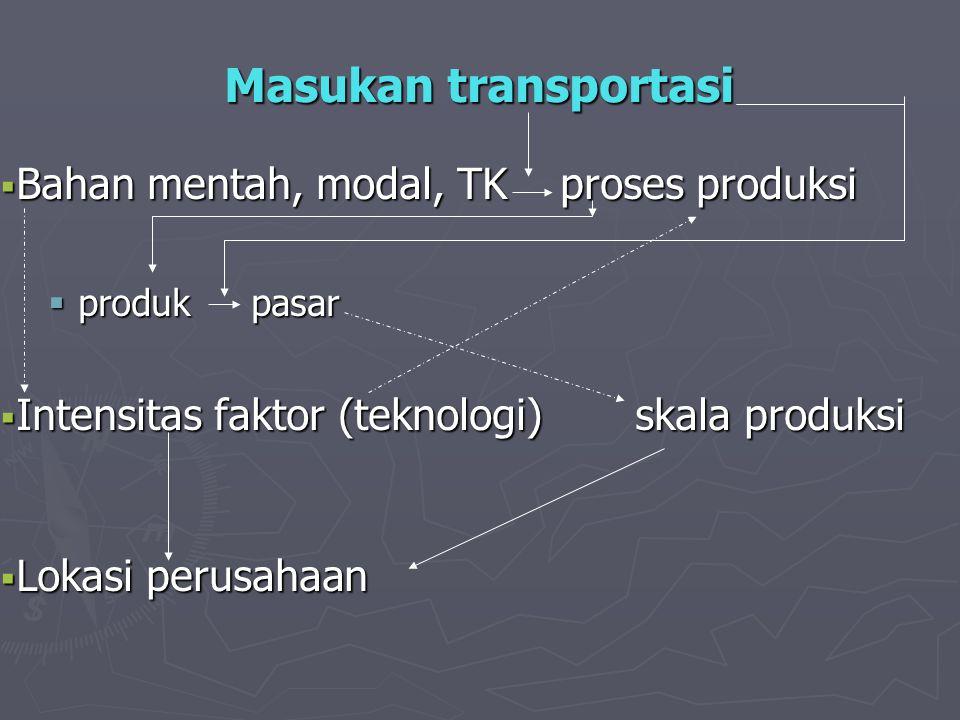 Masukan transportasi Bahan mentah, modal, TK proses produksi