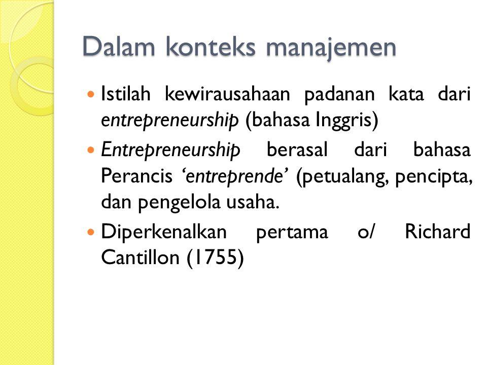 Dalam konteks manajemen