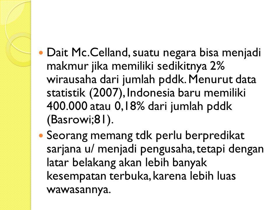 Dait Mc.Celland, suatu negara bisa menjadi makmur jika memiliki sedikitnya 2% wirausaha dari jumlah pddk. Menurut data statistik (2007), Indonesia baru memiliki 400.000 atau 0,18% dari jumlah pddk (Basrowi;81).
