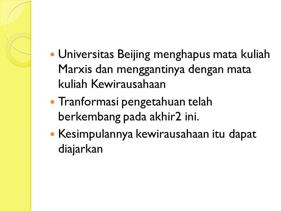 Universitas Beijing menghapus mata kuliah Marxis dan menggantinya dengan mata kuliah Kewirausahaan