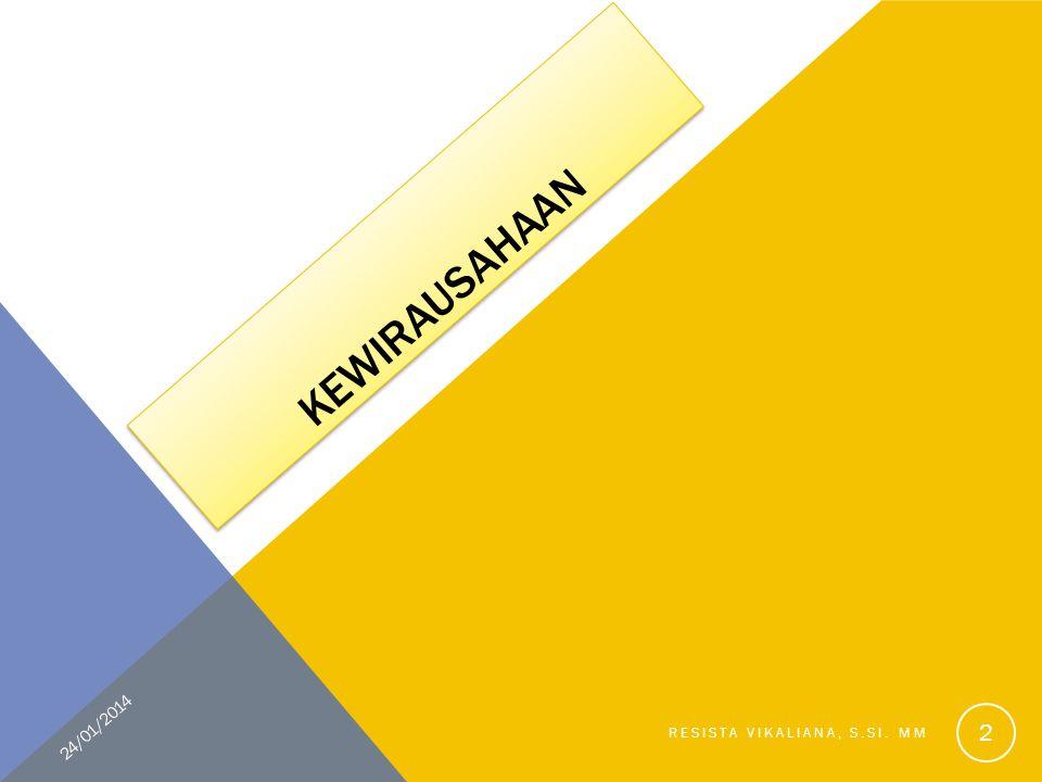 KEWIRAUSAHAAN 24/01/2014 Resista Vikaliana, S.Si. MM