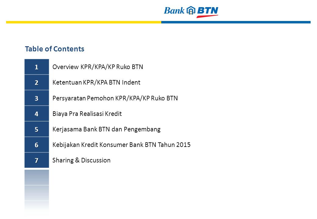 Table of Contents 1 Overview KPR/KPA/KP Ruko BTN 2