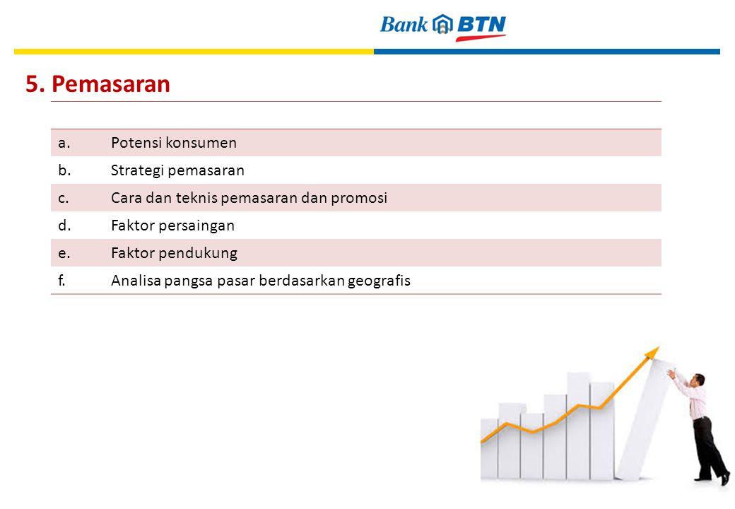 5. Pemasaran a. Potensi konsumen b. Strategi pemasaran c.