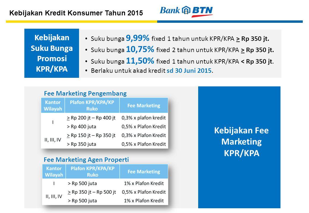 Kebijakan Suku Bunga Promosi KPR/KPA Kebijakan Fee Marketing KPR/KPA