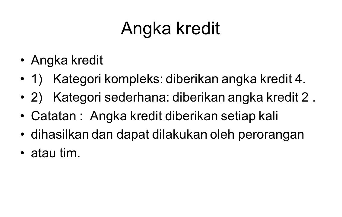 Angka kredit Angka kredit