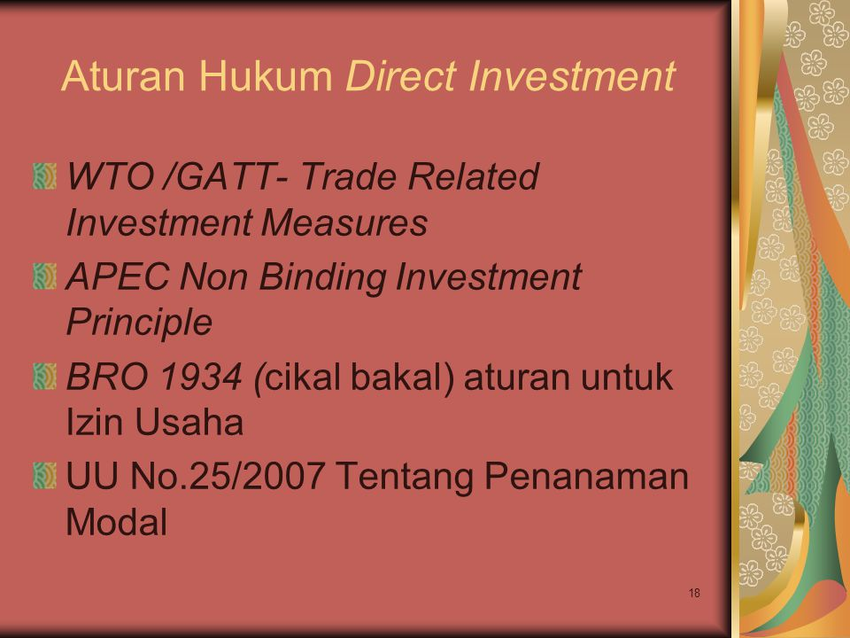 Aturan Hukum Direct Investment