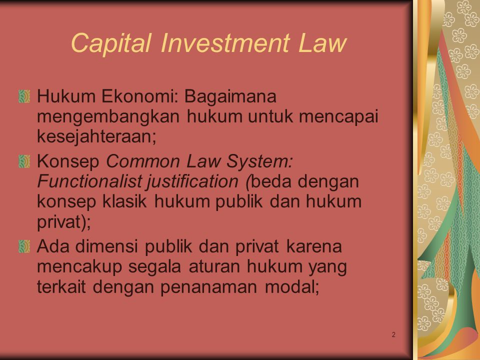 Capital Investment Law