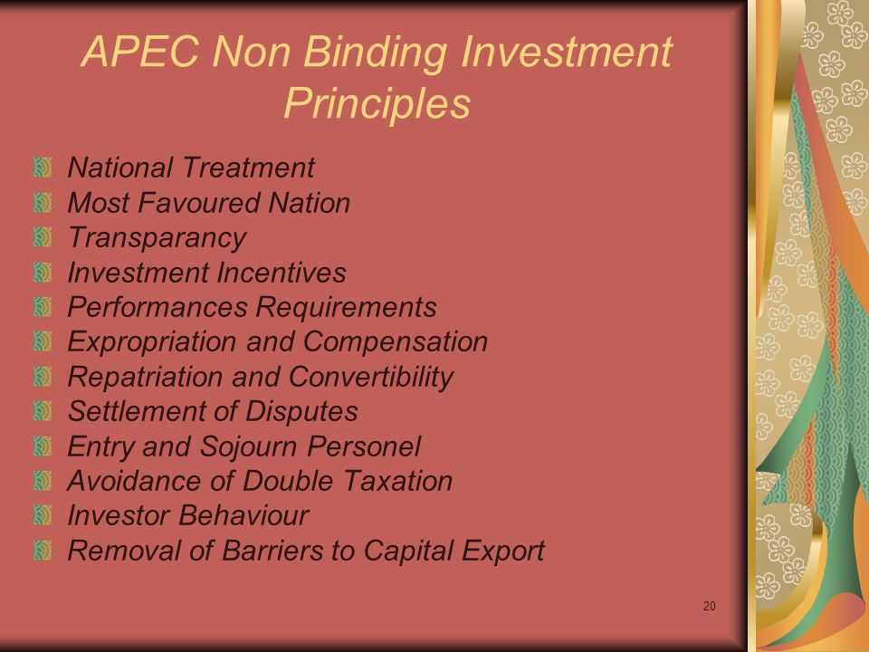 APEC Non Binding Investment Principles