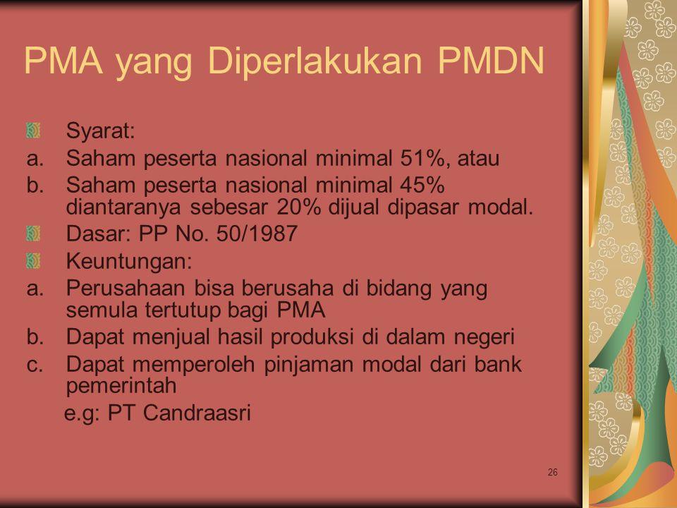 PMA yang Diperlakukan PMDN
