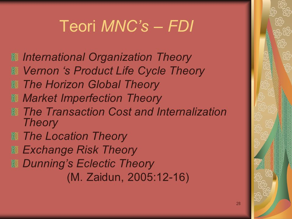 Teori MNC's – FDI International Organization Theory