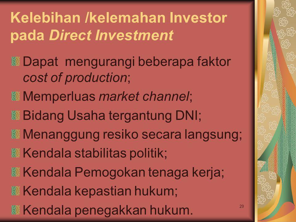 Kelebihan /kelemahan Investor pada Direct Investment