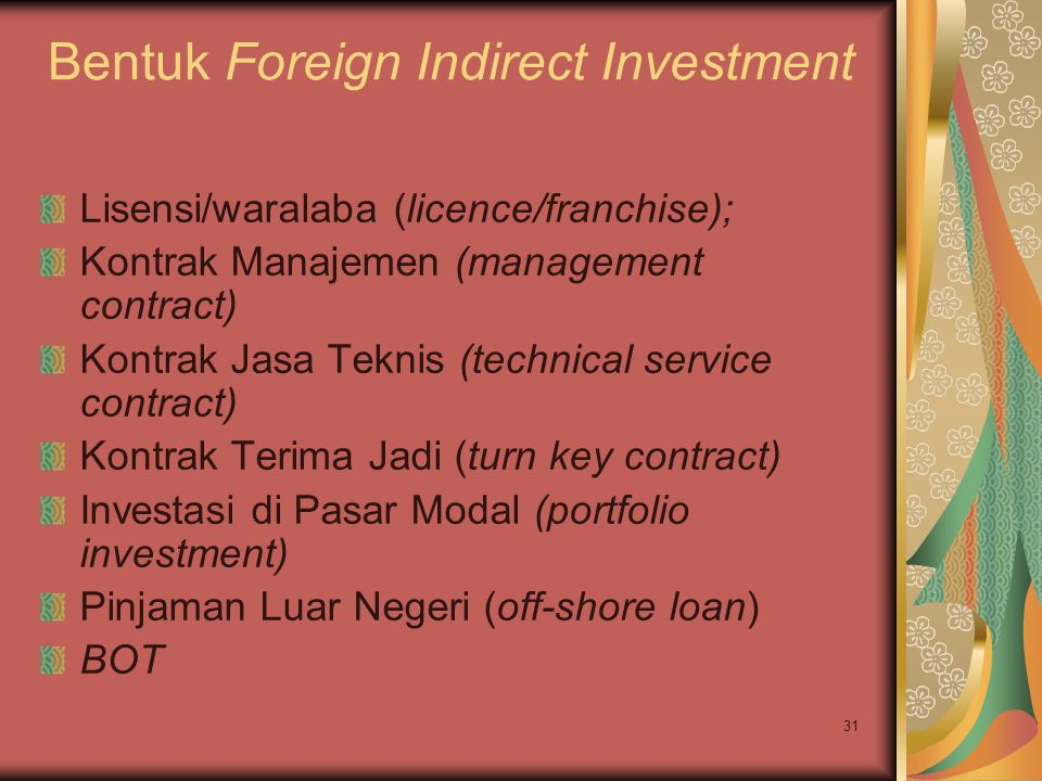 Bentuk Foreign Indirect Investment
