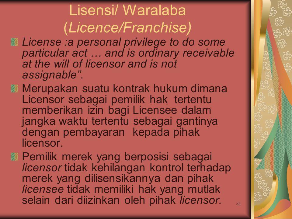 Lisensi/ Waralaba (Licence/Franchise)