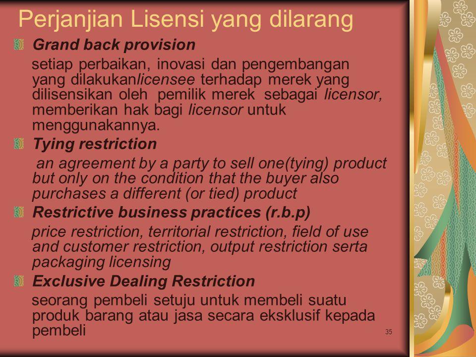 Perjanjian Lisensi yang dilarang