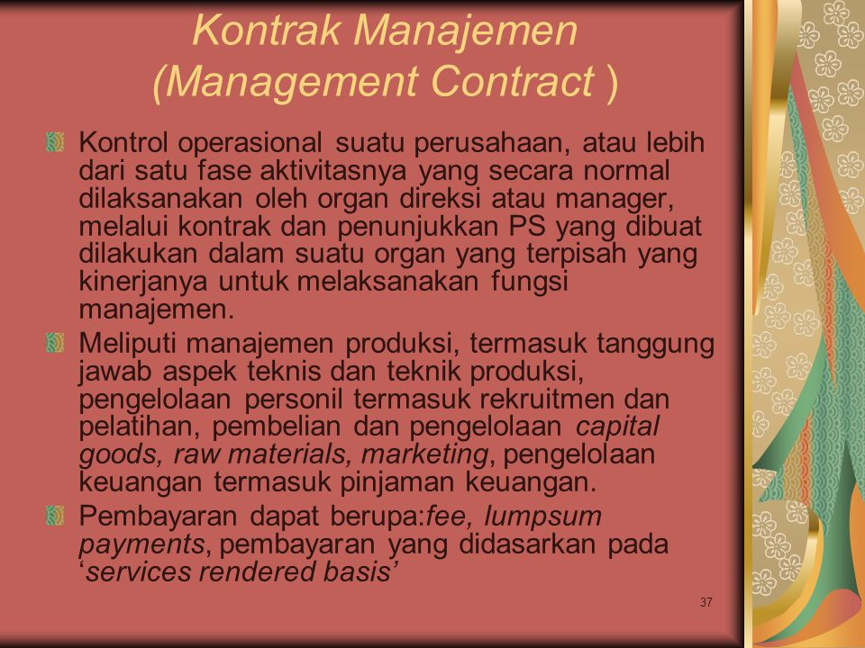 Kontrak Manajemen (Management Contract )