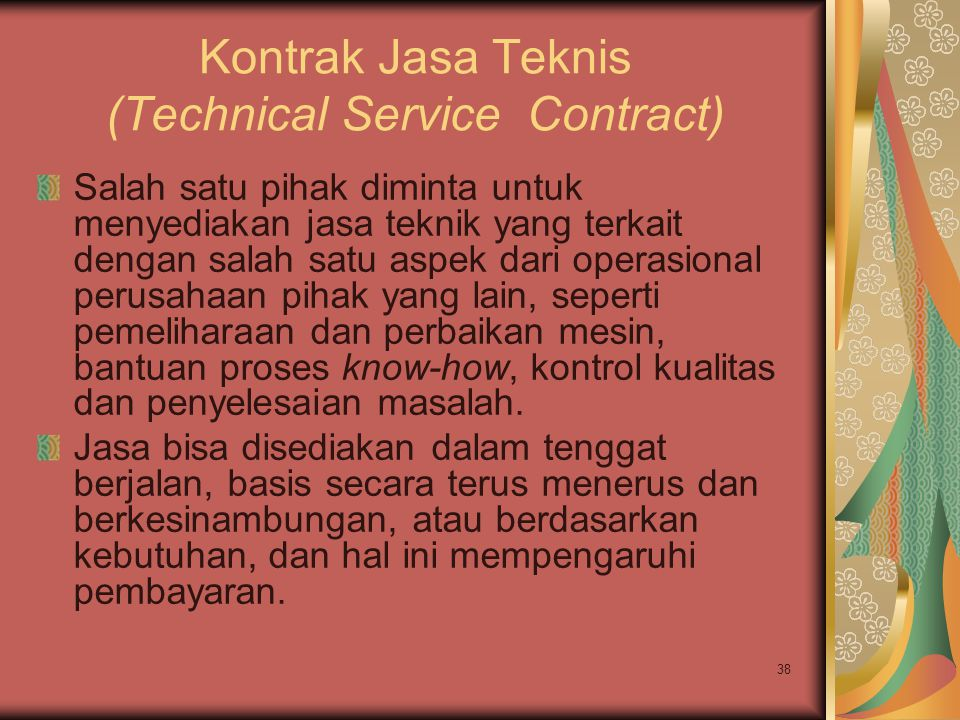 Kontrak Jasa Teknis (Technical Service Contract)