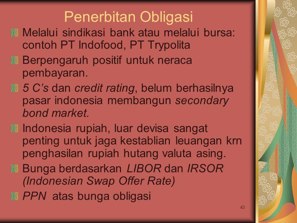 Penerbitan Obligasi Melalui sindikasi bank atau melalui bursa: contoh PT Indofood, PT Trypolita. Berpengaruh positif untuk neraca pembayaran.