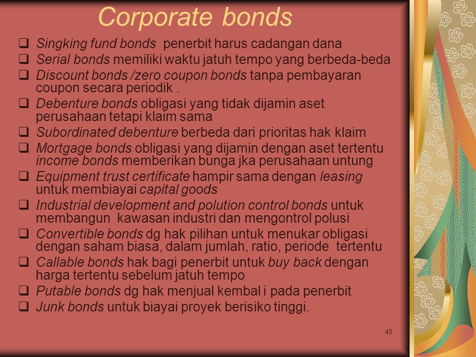 Corporate bonds Singking fund bonds penerbit harus cadangan dana
