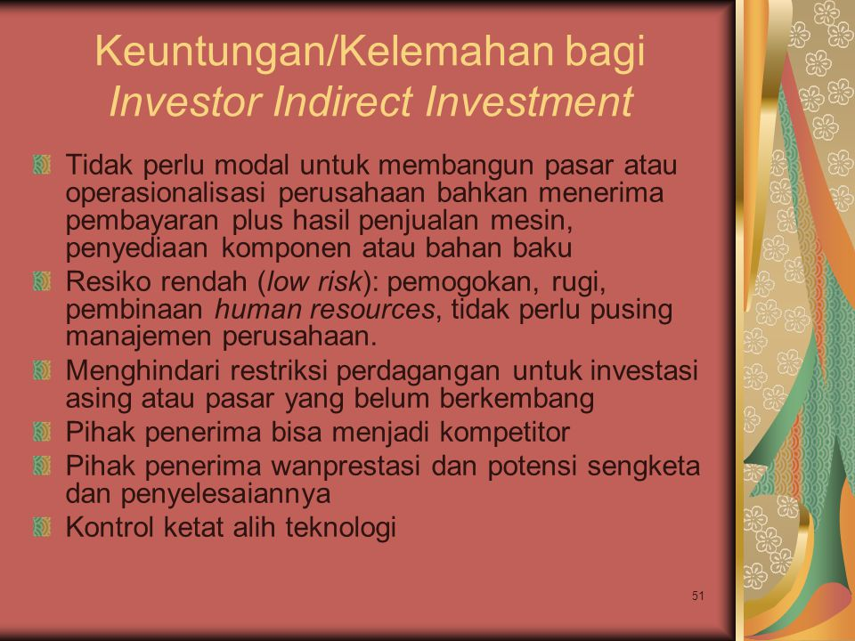 Keuntungan/Kelemahan bagi Investor Indirect Investment
