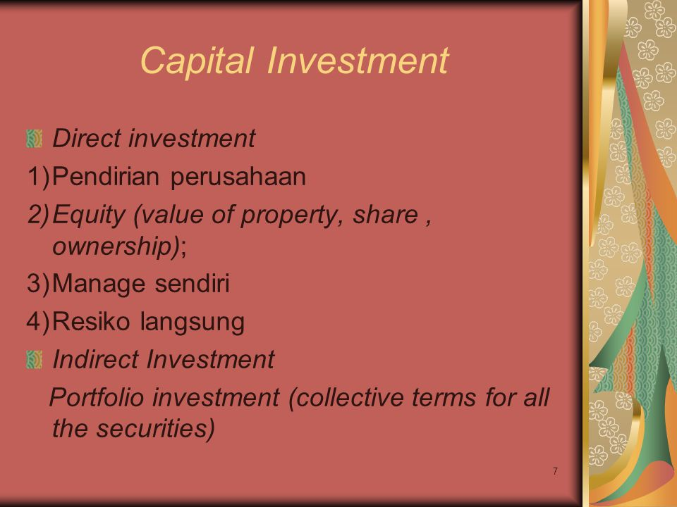 Capital Investment Direct investment Pendirian perusahaan