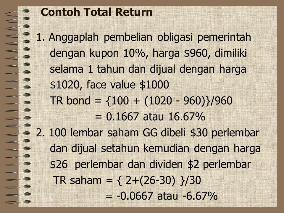 Contoh Total Return 1. Anggaplah pembelian obligasi pemerintah. dengan kupon 10%, harga $960, dimiliki.