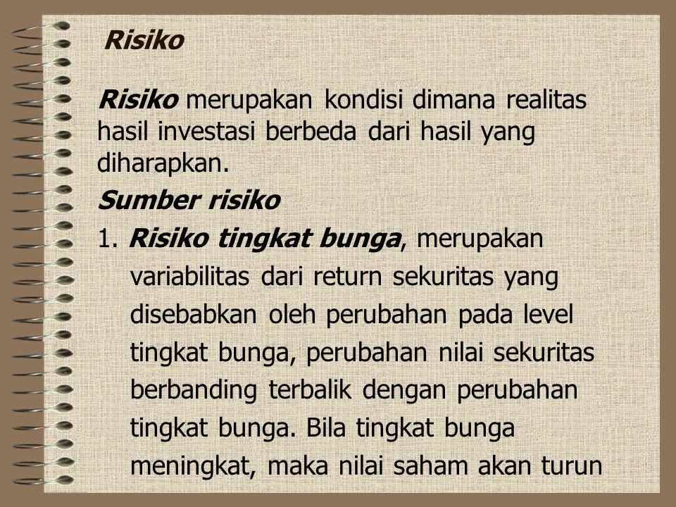 Risiko Risiko merupakan kondisi dimana realitas hasil investasi berbeda dari hasil yang diharapkan.
