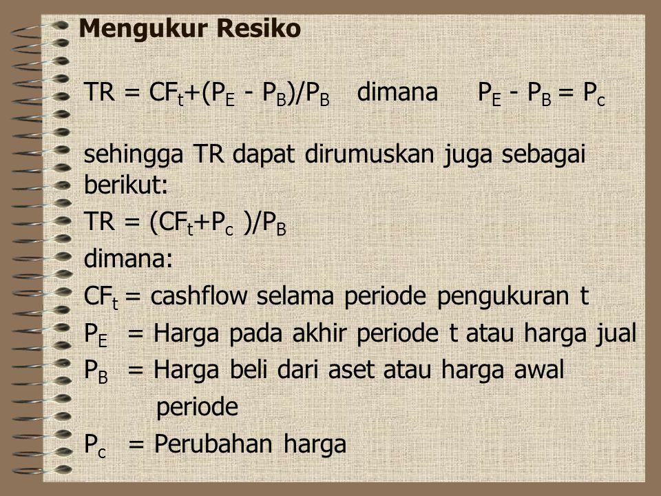 Mengukur Resiko TR = CFt+(PE - PB)/PB dimana PE - PB = Pc. sehingga TR dapat dirumuskan juga sebagai berikut:
