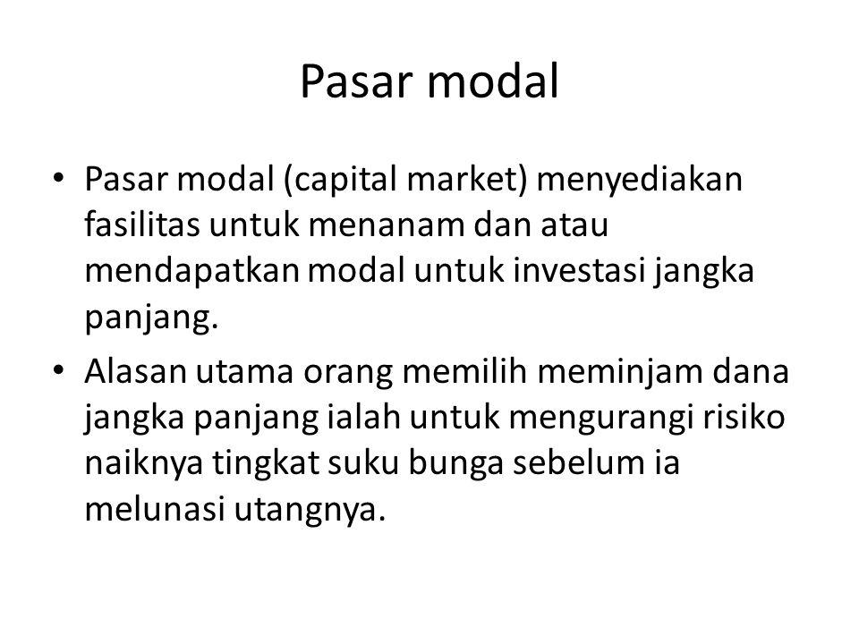 Pasar modal Pasar modal (capital market) menyediakan fasilitas untuk menanam dan atau mendapatkan modal untuk investasi jangka panjang.