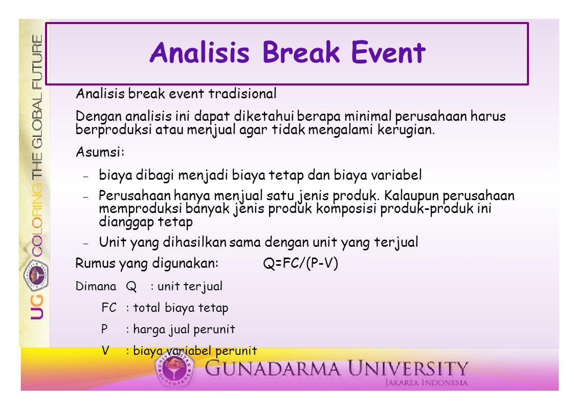 Analisis Break Event Analisis break event tradisional