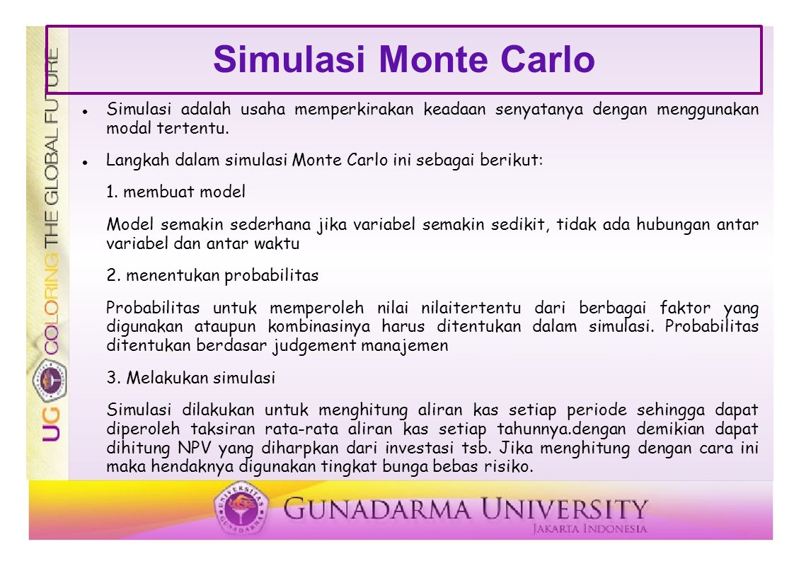 Simulasi Monte Carlo Simulasi adalah usaha memperkirakan keadaan senyatanya dengan menggunakan modal tertentu.