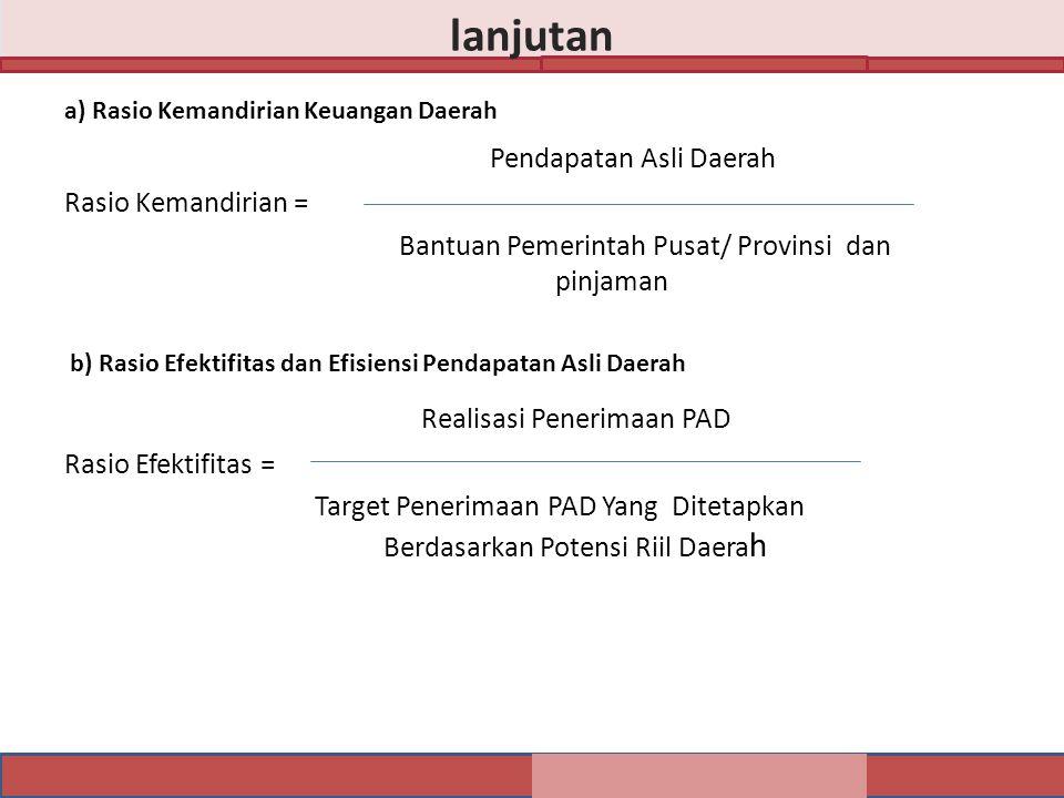 lanjutan Realisasi Penerimaan PAD Pendapatan Asli Daerah