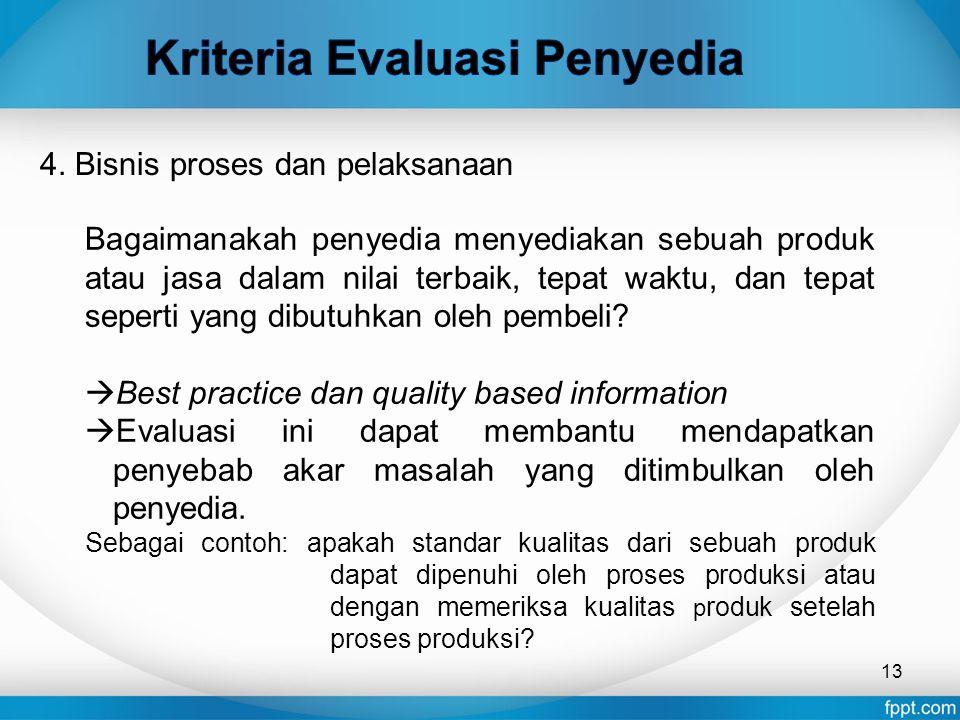 Kriteria Evaluasi Penyedia