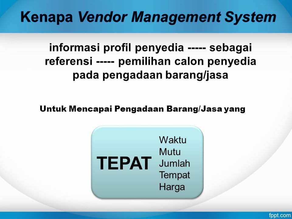 TEPAT Kenapa Vendor Management System