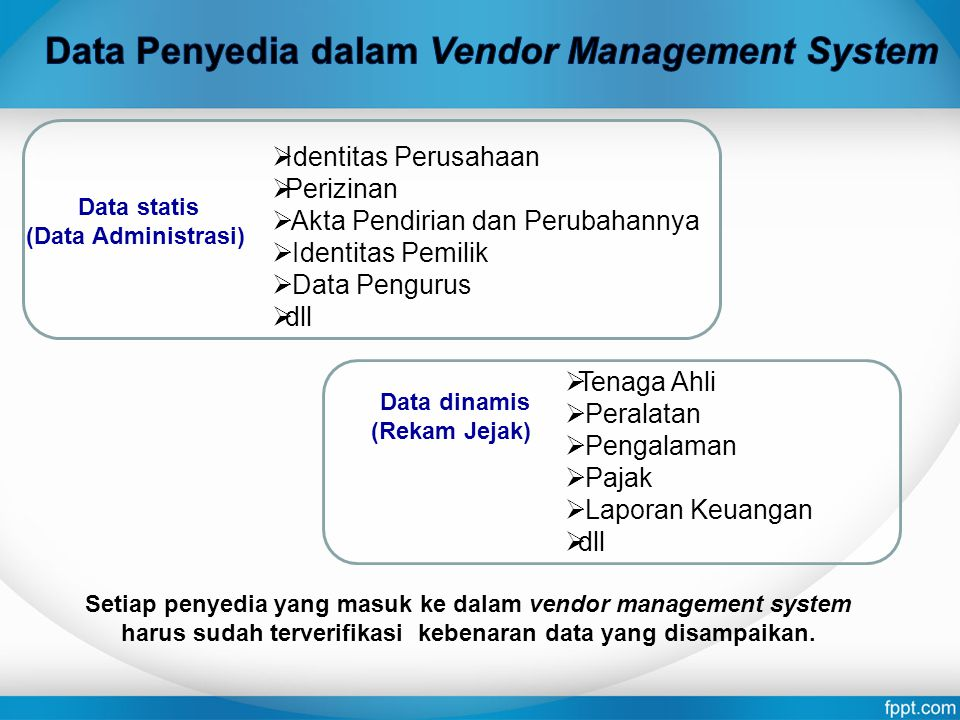 Data Penyedia dalam Vendor Management System